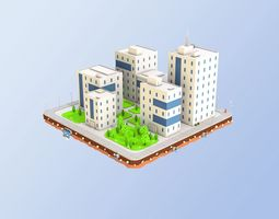 3D asset game-ready Low Poly City Block Office Buildings