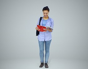 Standing Casual Woman Reading a Book 3D model
