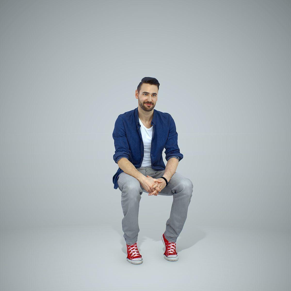 Sitting Man with Blue Shirt and Grey Pants CMan0302-HD2-O01P02-S