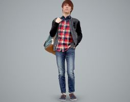Casual Teenager Boy with Backpack 3D model