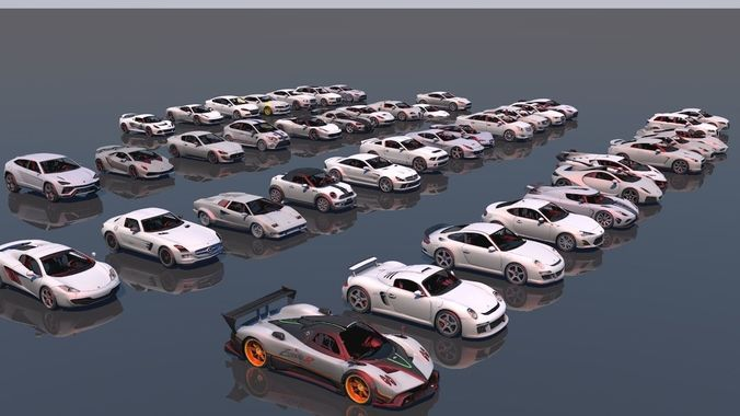 low poly vr game ready pack of sports cars 3d model obj mtl 3ds fbx c4d 1