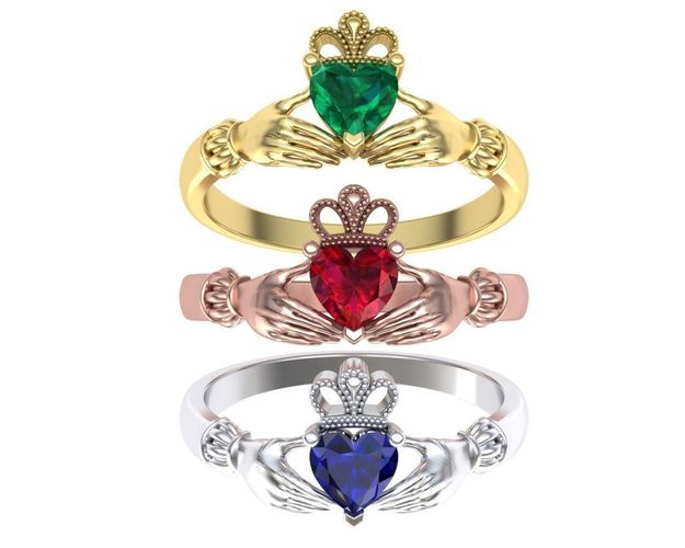 Claddagh Ring traditional Irish ring 3d model gold