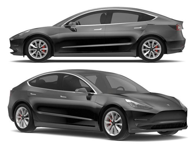 2018 Tesla Model 3 Solid Black | 3D model