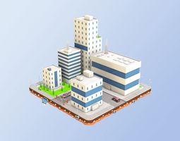 3D model Low Poly City Block Factory Buildings