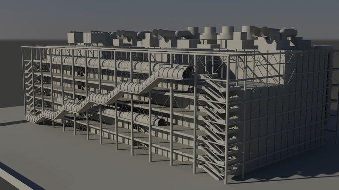 center george pompidou paris 3d model low-poly max obj 1