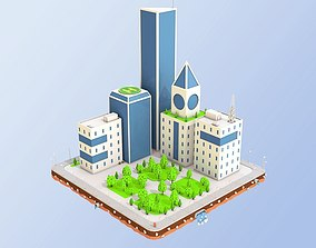 Low Poly City Block Skyscraper Buildings 3D model