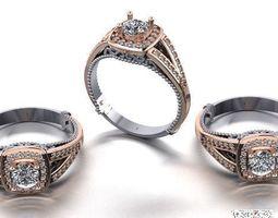 3D printable model diamond fashion ring jewelry design 36