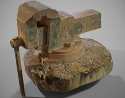 3D model PBR Rusted Vise Scanned