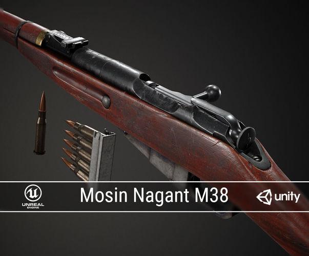 pbr soviet mosin nagant m38 3d model obj mtl fbx ma mb dae 1