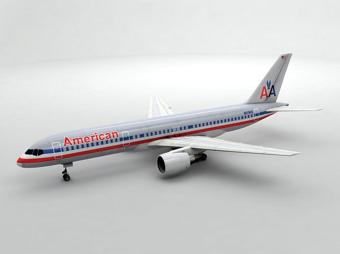boeing 757-200 airliner - american airlines 3d model max obj 3ds dxf stl wrl wrz 1