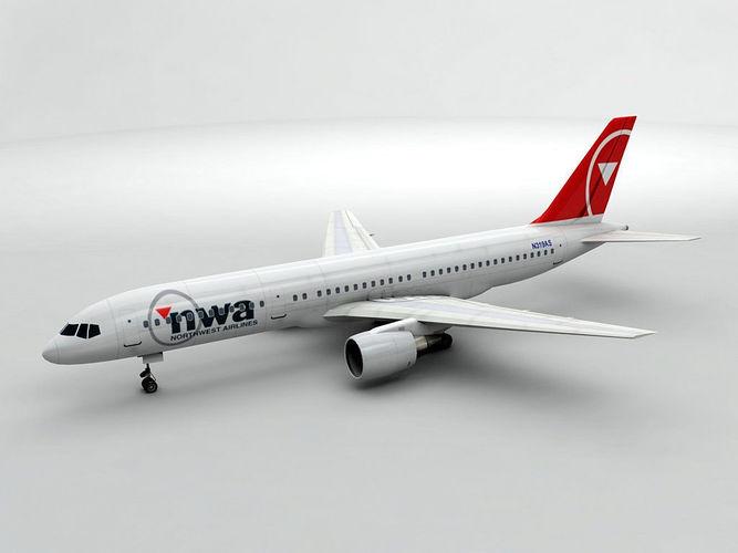 boeing 757-200 airliner - nwa airlines 3d model max obj 3ds dxf stl wrl wrz 1