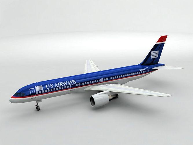 boeing 757-200 airliner - us airways 3d model max obj 3ds dxf stl wrl wrz 1