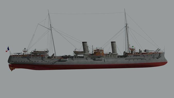 destroyer casabianca 3d model obj mtl fbx blend dae 1