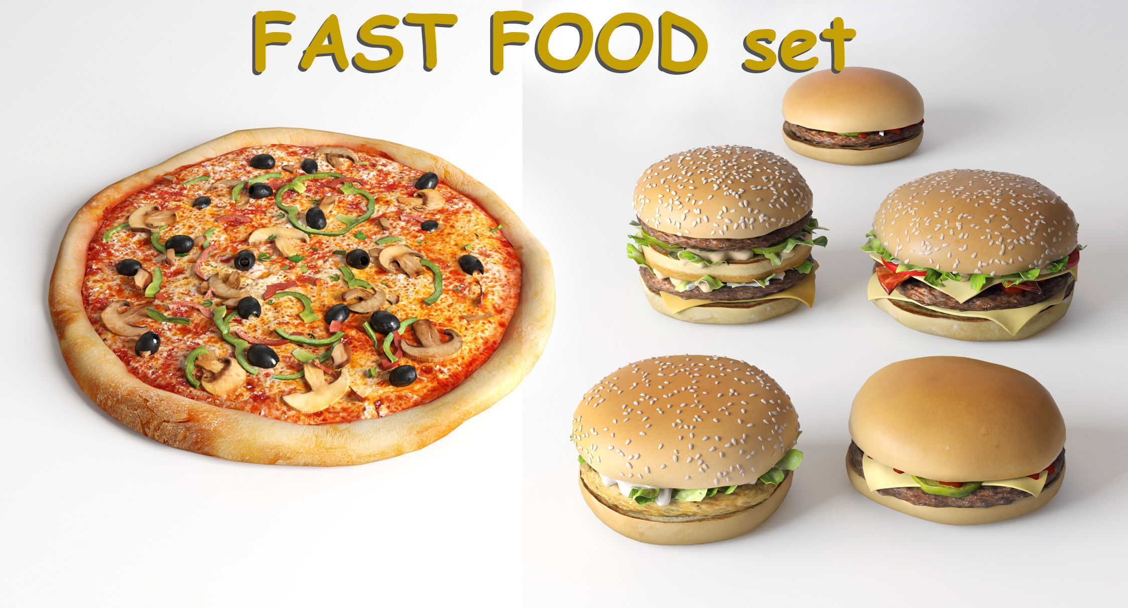 Burgers collection and pizza - FAST FOOD set 1