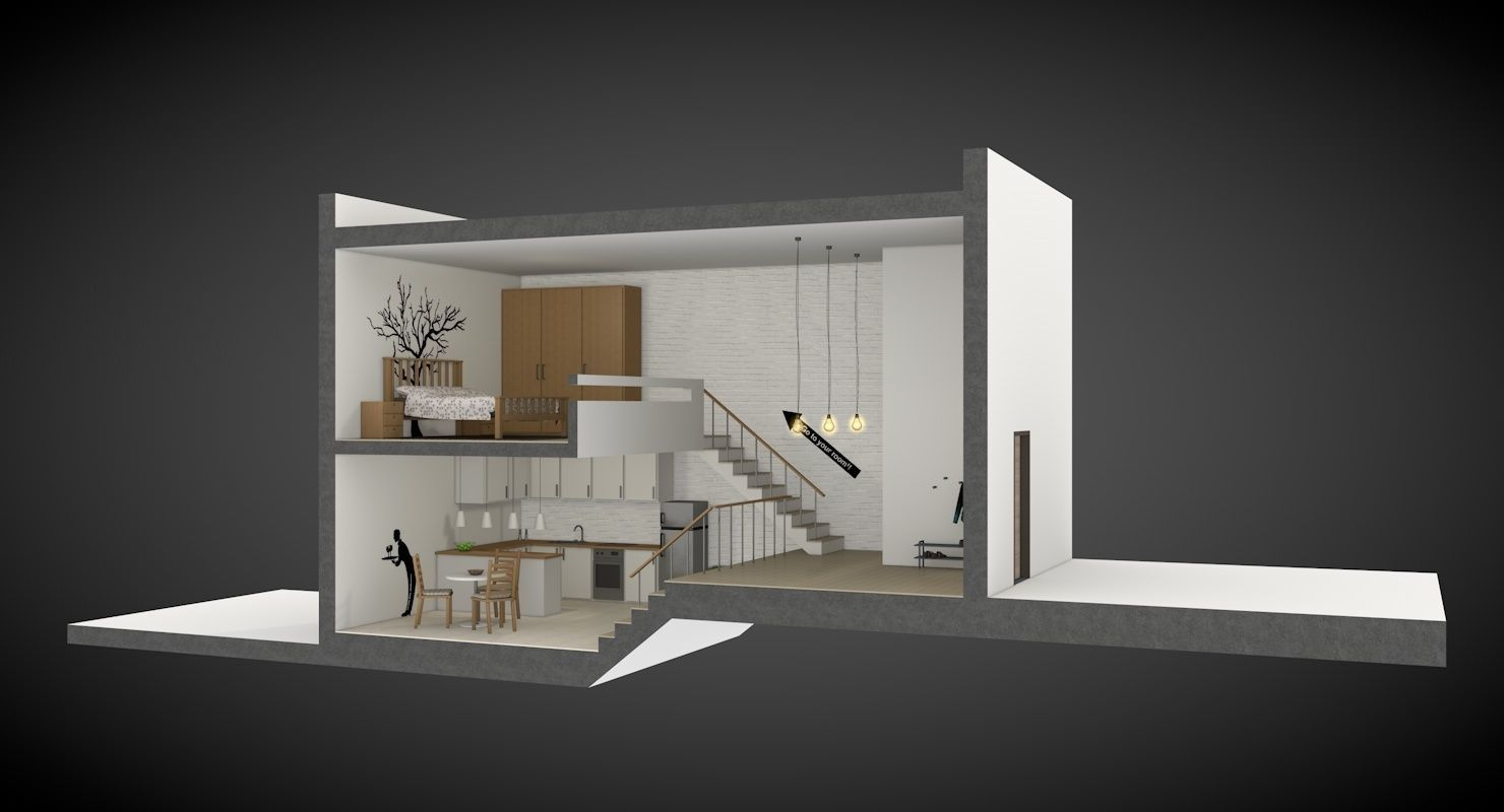 House Section With Furniture And Decoration 3d Model 3ds C4d 2
