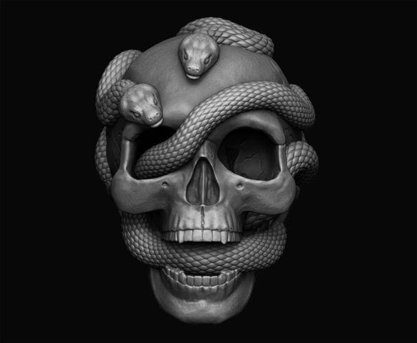 skull with snakes 3d model obj stl 1
