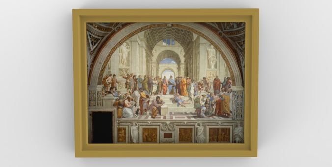 school of athens painting by raphael for 3d printing 3d model obj mtl stl wrl wrz 1