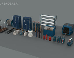 industrial stuff pack 3D asset low-poly