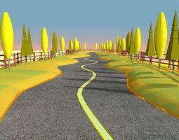 3D model Cartoon Road Scene