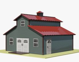 3D asset Grey Cartoon Barn with Red Roof