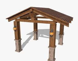Wooden Shed with Lanterns 3D asset