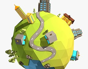 Cartoon Planet in Low Poly Style 3D model