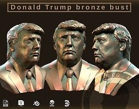 Donald Trump bronze bust 3D model low-poly
