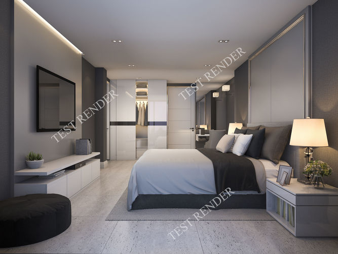 3d Modern Luxury Modern Bedroom Suite In Hotel With