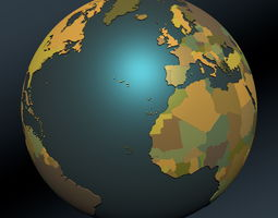 3D model Political map earth globe with countries