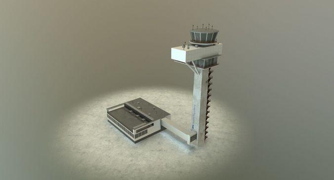 eddb control tower 3d model low-poly max obj mtl 3ds fbx 1