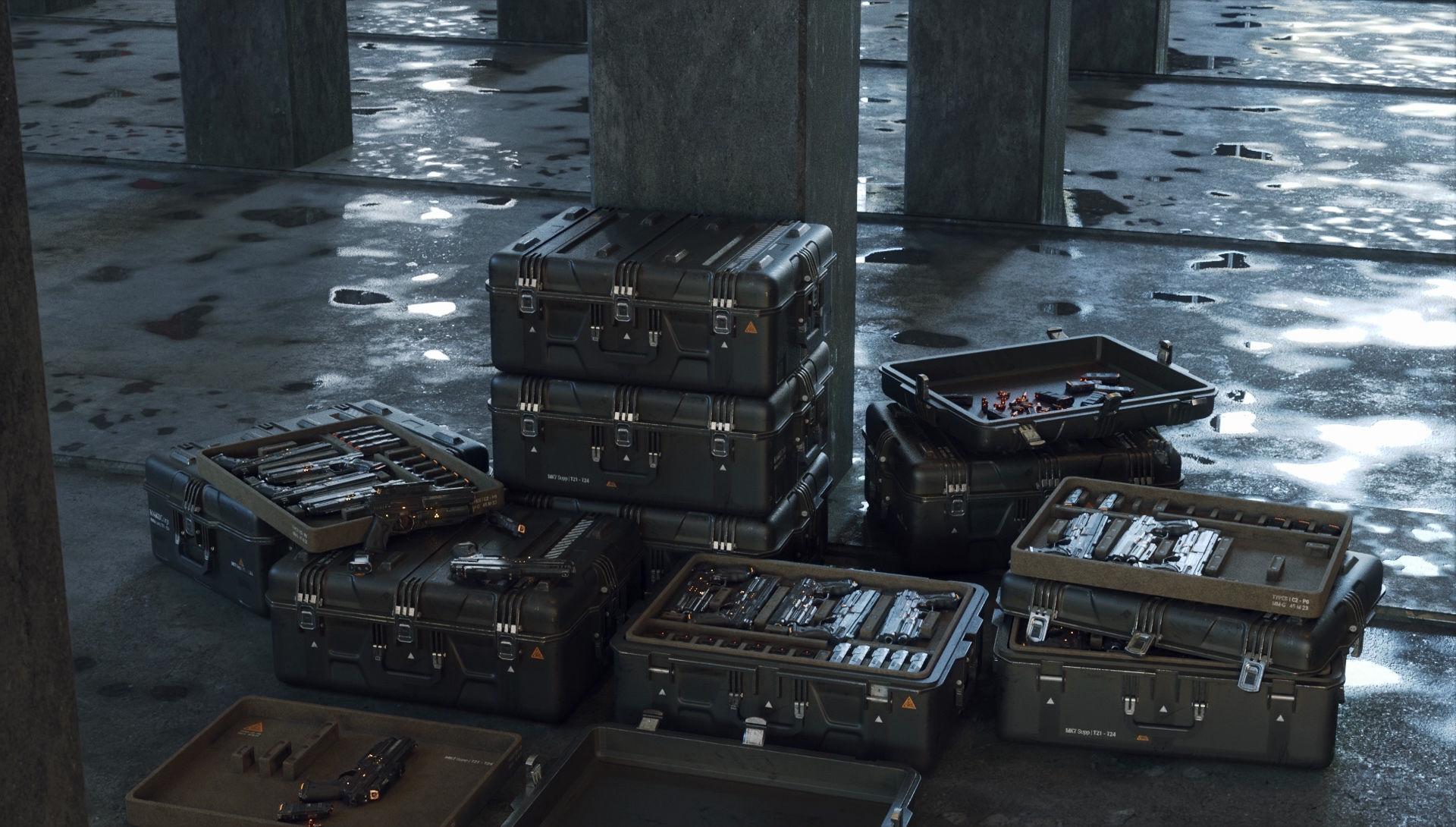 Gun and Boxes SciFi - PBR 3D Asset Kit