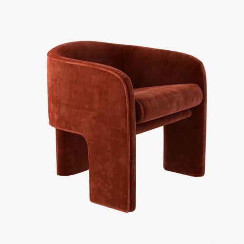 Milo Baughman Armchair In Orange Velvet 3D Model