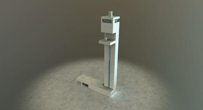 eddb dfs tower 3d model low-poly max obj mtl 3ds fbx 1