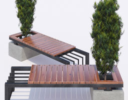 bench and thuja 3D model