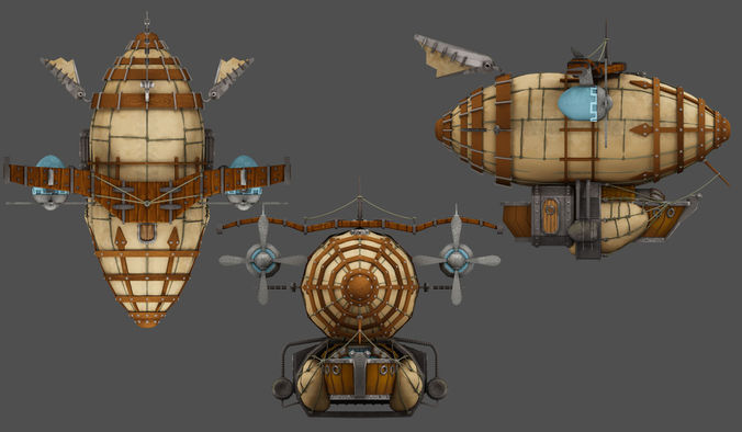 airship 3d model max fbx tga 1