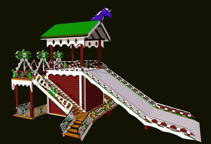 russian wooden winter slide attraction 3d model fbx 1