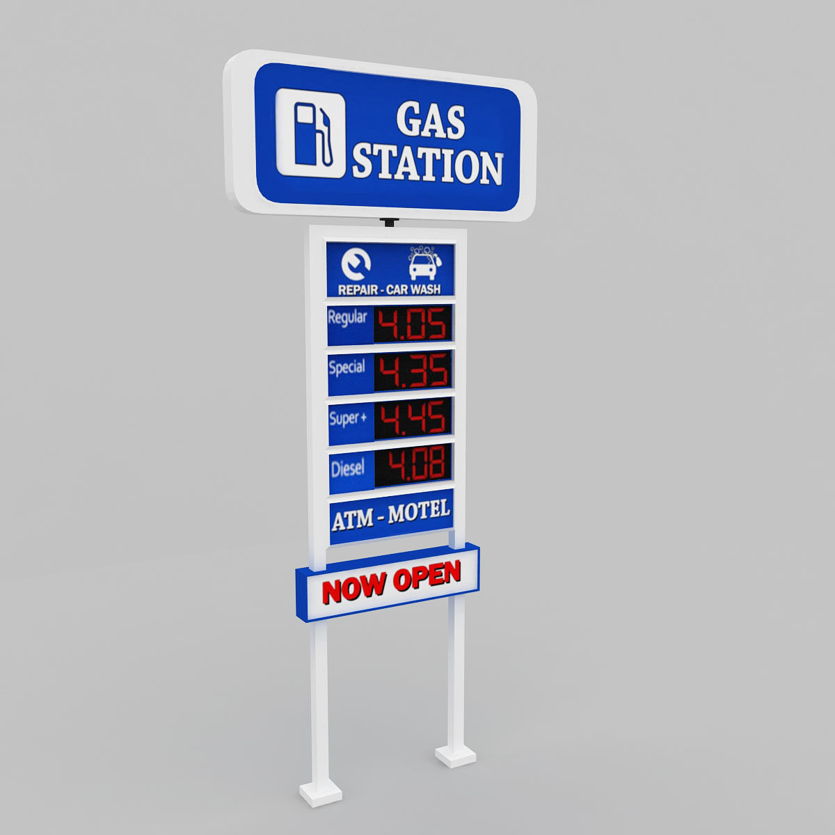 Gas station price sign totem low poly | 3D model