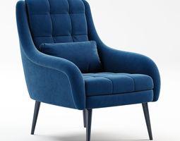OBrien Blue Velvet Armchair 3D