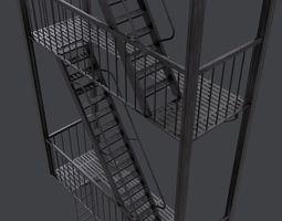 3D asset Fire Escape Stairs