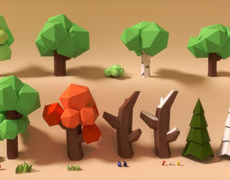 Low poly art nature set 3D Model
