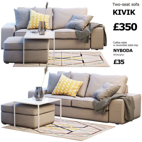 Two seat sofa ikea kivik 2 3d cgtrader for Sofa kivik 3 plazas