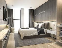 luxury modern bedroom suite in hotel with wardrobe 3D