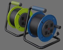 3D model low-poly Extension Cord Reel 1A