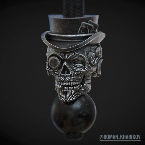 Skull beads with hat and poker cards 3d model for 3d printing