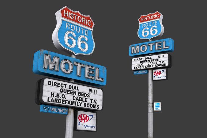 historic route 66 motel sign 3d model low-poly max obj mtl fbx tga 1