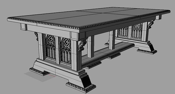 Merveilleux ... Gothic Table 3d Model Max Obj Fbx 3dm 5