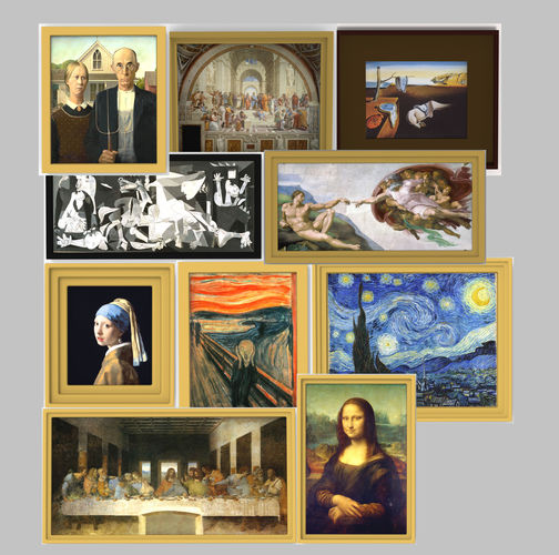 famous paintings pack for 3d printing 3d model obj mtl stl wrl wrz 1