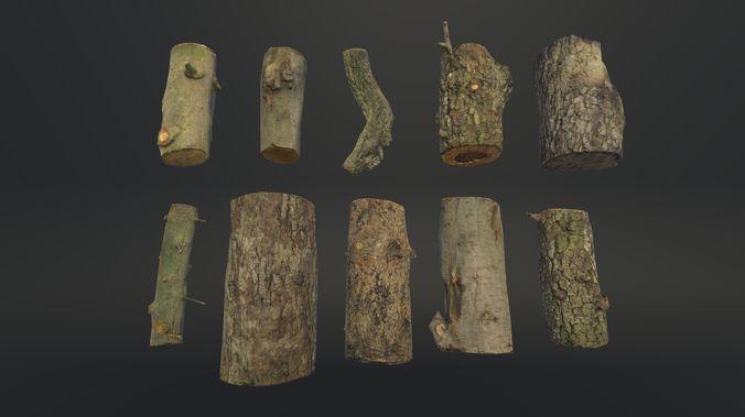 firewood logs 3d model fbx 1