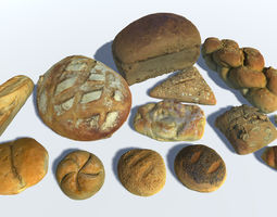 3D asset Breads Buns and Rolls