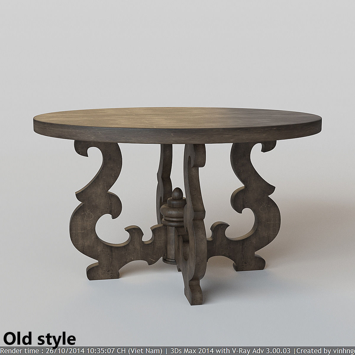 French Country Round Dining Table 3D model